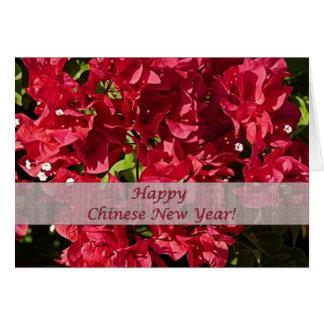 Carte de voeux rouge chinoise de bouganvillées de