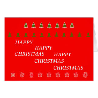 Carte de voeux rouge d'arbres minuscules de Noël