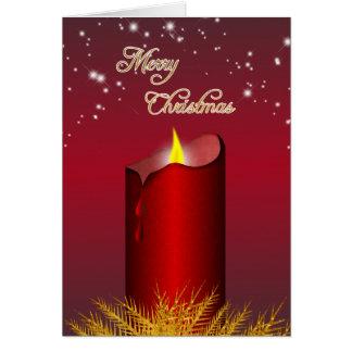 Carte de voeux rouge de bougie de Noël