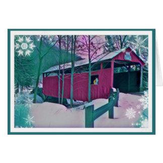Carte de voeux rouge de pont couvert