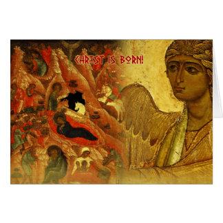 Carte de voeux russe de Noël d'ange