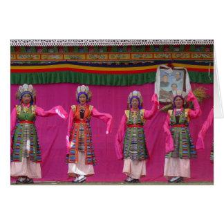 Carte de voeux tibétaine de danseurs