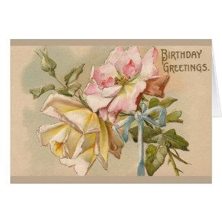Carte de voeux victorienne d'anniversaire de roses
