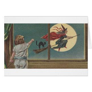 Carte de voeux victorienne de Befana Halloween de