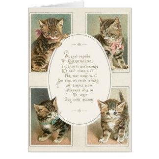 Carte de voeux victorienne de Noël de chatons