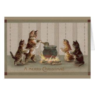 Carte de voeux victorienne de Noël de chats