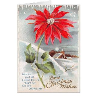 Carte de voeux victorienne de Noël de poinsettia