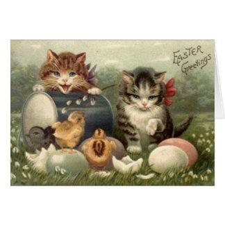 Carte de voeux victorienne de Pâques de chatons