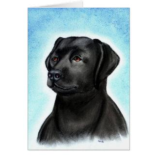 Carte de voeux vierge noire de labrador retriever