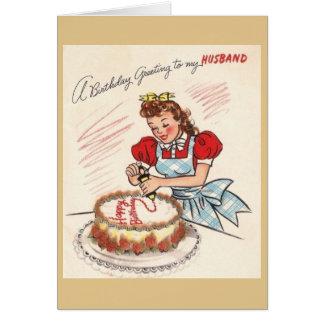 Carte de voeux vintage d'anniversaire de mari