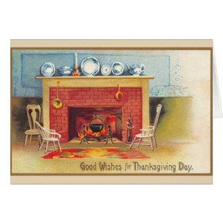 Carte de voeux vintage de foyer de thanksgiving