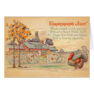 Carte de voeux vintage de joies de thanksgiving