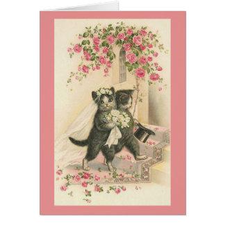 Carte de voeux vintage de mariage de chat
