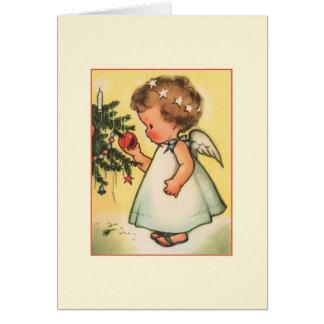 Carte de voeux vintage de Noël d'ange de bébé