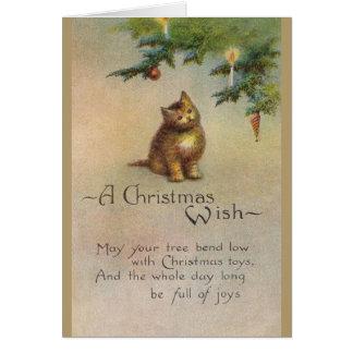 Carte de voeux vintage de Noël de chaton