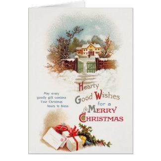 Carte de voeux vintage de Noël de scène d'hiver
