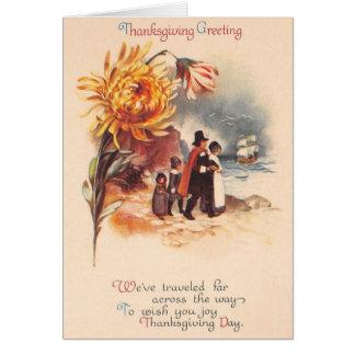 Carte de voeux vintage de pèlerins de thanksgiving