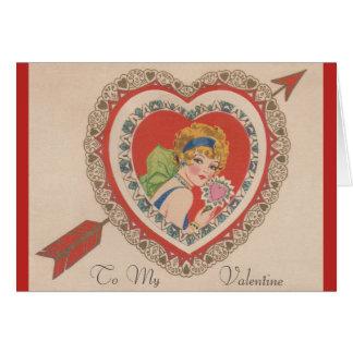 Carte de voeux vintage de Valentine d'aileron