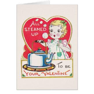 Carte de voeux vintage de Valentine de théière