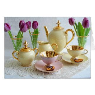 Carte de voeux vintage vibrante de tulipes de