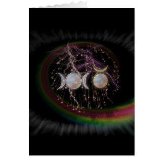 Carte Déesse triple stupéfiante de Wiccan cosmique