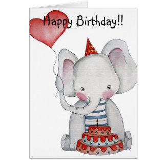 Carte d'éléphant d'anniversaire