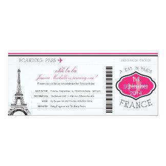 Carte d'embarquement d'anniversaire vers Paris Carton D'invitation 10,16 Cm X 23,49 Cm
