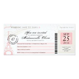Carte d'embarquement vintage de fête carton d'invitation  10,16 cm x 23,49 cm