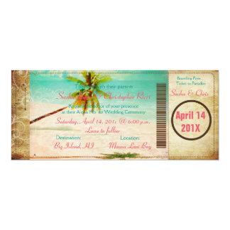 Carte d'embarquement vintage de plage de carton d'invitation  10,16 cm x 23,49 cm