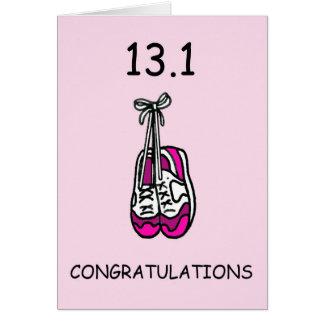 Carte Demi de dame de marathon, félicitations