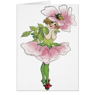 Carte Demoiselle de honneur vintage de rose pompon d'art
