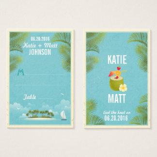 Carte d'endroit de mariage de destination de plage