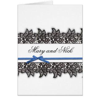 Carte Dentelle noire et ruban bleu