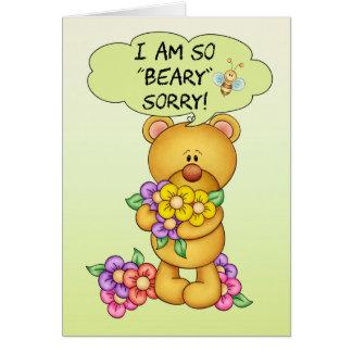 """Carte désolée """"Beary"""" désolé avec l'ours et les"""