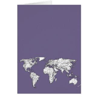 Carte Dessin gris lilas de la terre