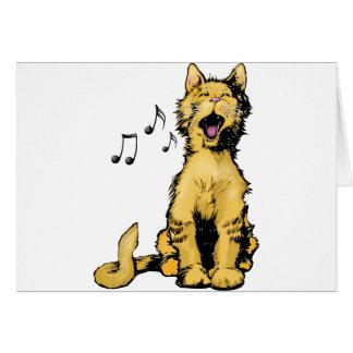 Carte Dessin orange de chat de chant mignon avec les