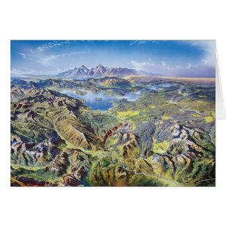 Carte Dessin panoramique de Yellowstone