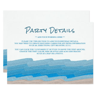 Carte Détail de fête d'anniversaire de plage d'océan