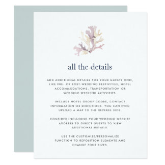 Carte détail d'invité de mariage de récif coralien