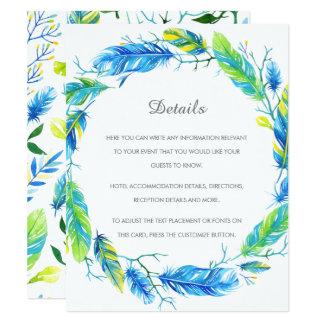 Carte détail moderne lumineuse de mariage de Boho Carton D'invitation 10,79 Cm X 13,97 Cm