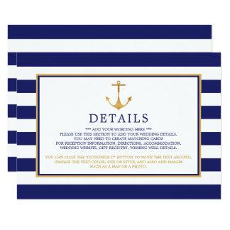 Carte Détail nautique vintage de mariage d'ancre d'or
