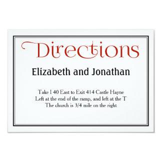 Carte détail noire et blanche rouge de directions carton d'invitation 8,89 cm x 12,70 cm