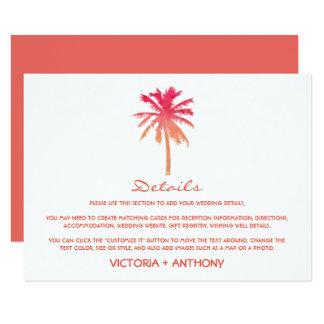 Carte Détail tropical de mariage de plage de palmier de