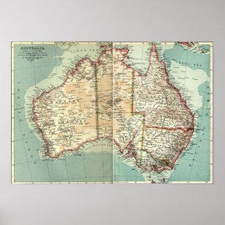 Carte détaillée de continent australien vintage poster