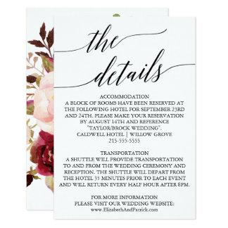 Carte Détails arrières floraux élégants de mariage de la