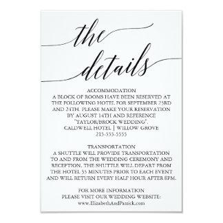 Carte Détails blancs et noirs élégants de mariage de