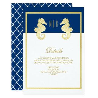 Carte Détails de très bon goût de mariage d'or de marine