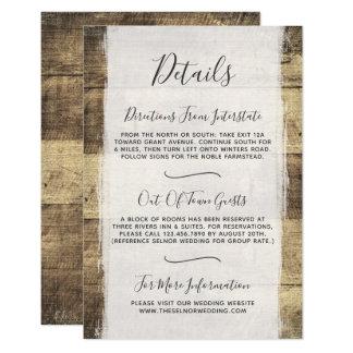 Carte Détails/directions du bois rustiques de mariage