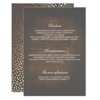 Carte Détails en bois rustiques de mariage de confettis