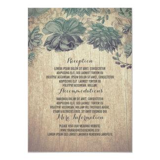 Carte Détails en bois rustiques de mariage de Succulents